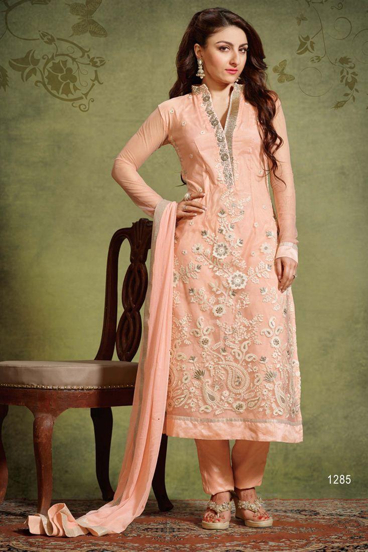 Designer salwar kameez mesmeric peach color net designer suit - Soha Ali Khan Pink Color Designer Salwar Suit Soha Ali Khan Suits Collection Pinterest Salwar Suits Colors And Designer Salwar Suits