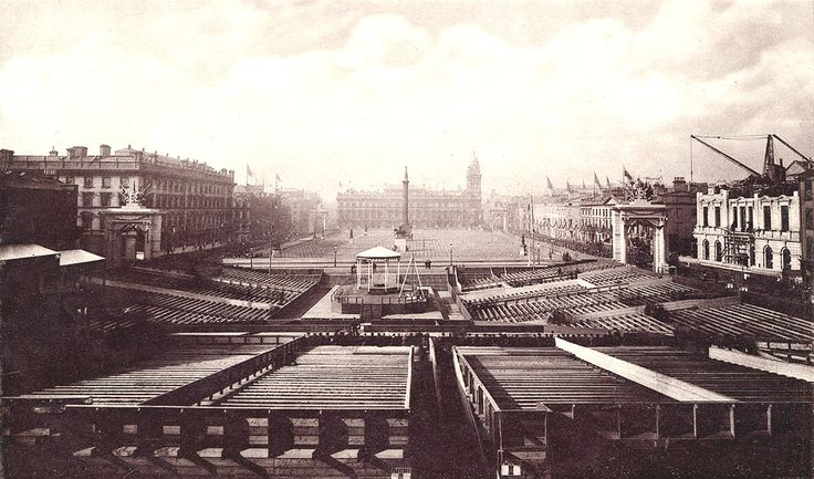 Seating laid out for the foundation stone laying ceremony for Glasgow City Chambers, 1883. The small pavilion on the raised platform in the centre was built to seat dignitaries attending the ceremony. The whole area on view seems eerily empty, in marked contrast to photographs showing a packed city centre during the ceremony on 6 October.