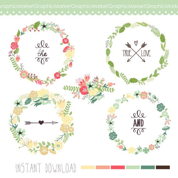 Wreaths Floral clipart, Digital Wreath, Floral Frames, Flowers, Arrows Clip art for scrapbooking, wedding invitations, Small Commercial Use on Etsy, $4.99