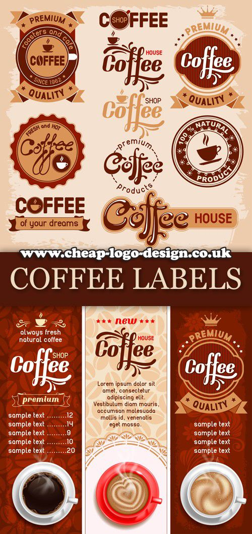 coffee shop label and logo ideas www.cheaplogodesign.co
