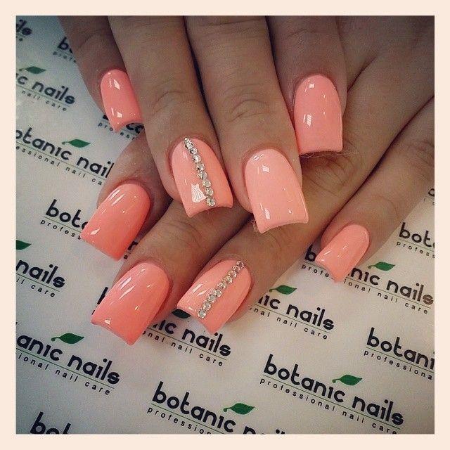 Coral Pink Summer Nails 2014.  Kelowna Gel Nails and UV Gel Manicures Kelowna O Spa