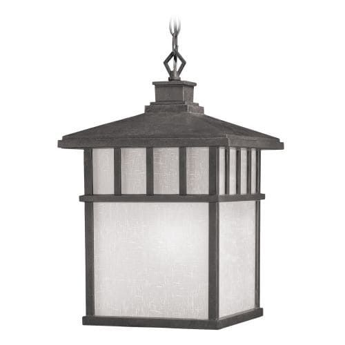 Dolan Designs 9114 Craftsman / Mission 1 Light Olde World Iron Exterior Hanging Outdoor Pendant from the Barton Collection (