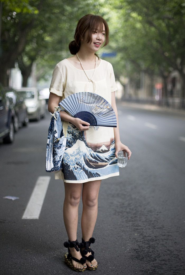 Dress:Japanese Wave Print Dress Bag:Matching Wave Print Bag Fan:Dragon Fan Shoes:Black Sandals with Pom Poms Photo By:Phil Oh