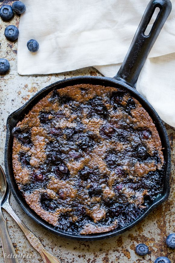 This Blueberry Skillet Cookie is a cross between a gooey skillet cookie and a bubbly blueberry cobbler! This recipe is gluten-free, Paleo and refined sugar free and makes just enough to share.