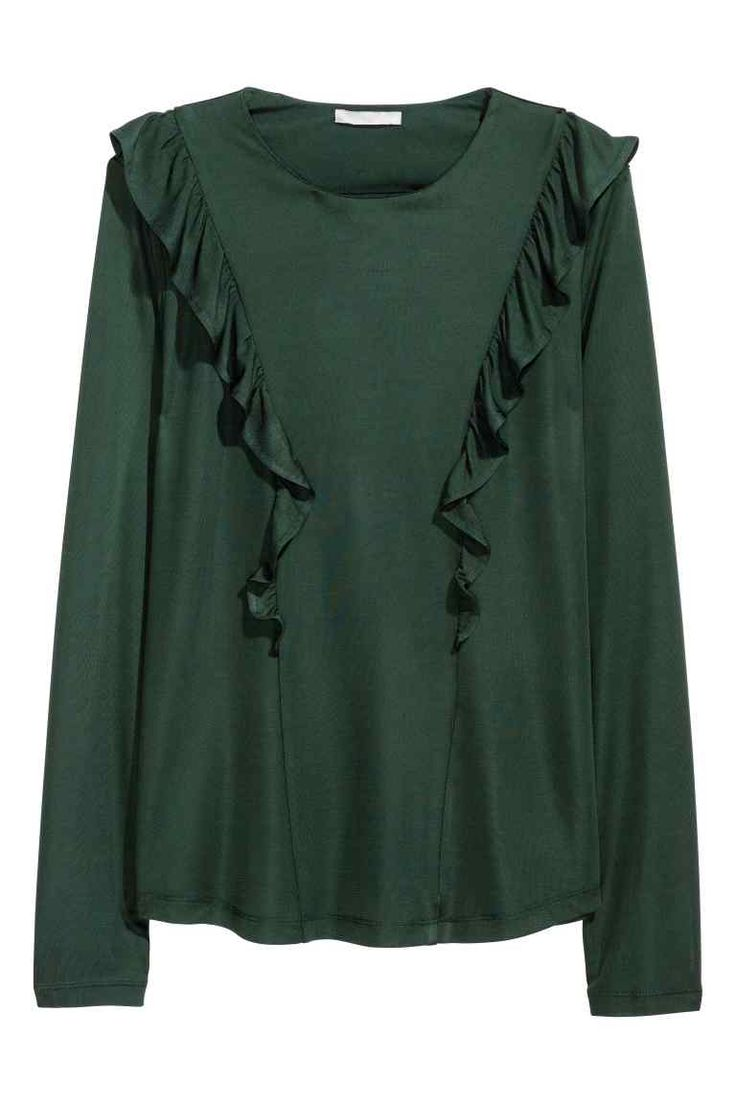 Frilled top: Long-sleeved top in viscose jersey with a sheen, with frill details front and back.