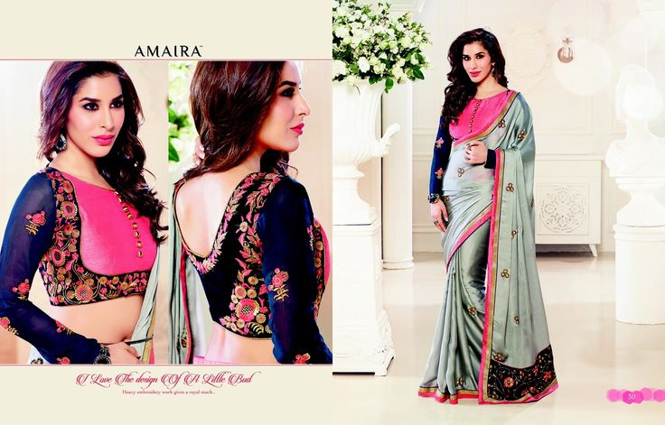 """""""Weekend saree sale"""" Pls call/whatsapp +919600639563. Code: wss spgryblu Price: 2499/- Material: Georgette saree with designer blouse For booking and further details pls call or whatsapp us at +919600639563. Happy shopping y'all :) Be Beautiful :)"""