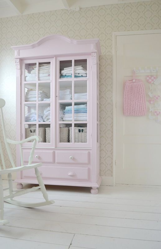 FRIVOLE nursery ❥ #wallpaper #mint #cabinet #pink #white floor #rocking chair #green