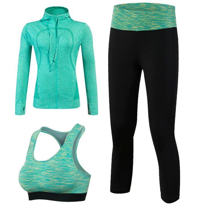 New Arrival YEL Quick Dry Workout Sport Suit Women 3pcs Yoga Sets(Jacket Pant Bra)Jogging Suits Fitness Gym Tracksuit Clothing ** AliExpress Affiliate's buyable pin. Click the VISIT button for detailed description on www.aliexpress.com #Yogapants
