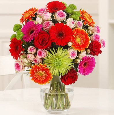 Birthday Flower Bouquet - A vivid medley of colour which is sure to be received well as a birthday gift!  Featuring 4 striking orange gerbera, 3 bright red gebera, 2 dramatic pink gerbera, 3 beautiful red roses, 3 pretty pink spray roses, 2 gorgeous green chrysanthemum, 1 great green bloom chrysanthemum and accompanied with elegant pistache foliage.