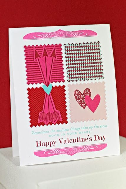 cupid's arrow with boutique borders and happy hearts by erin - love the pinked squares background!