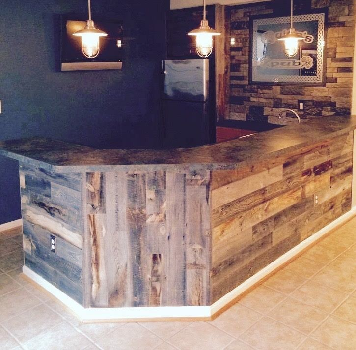 Bar made out of reclaimed barn wood future house ideas for Wood outdoor bar ideas