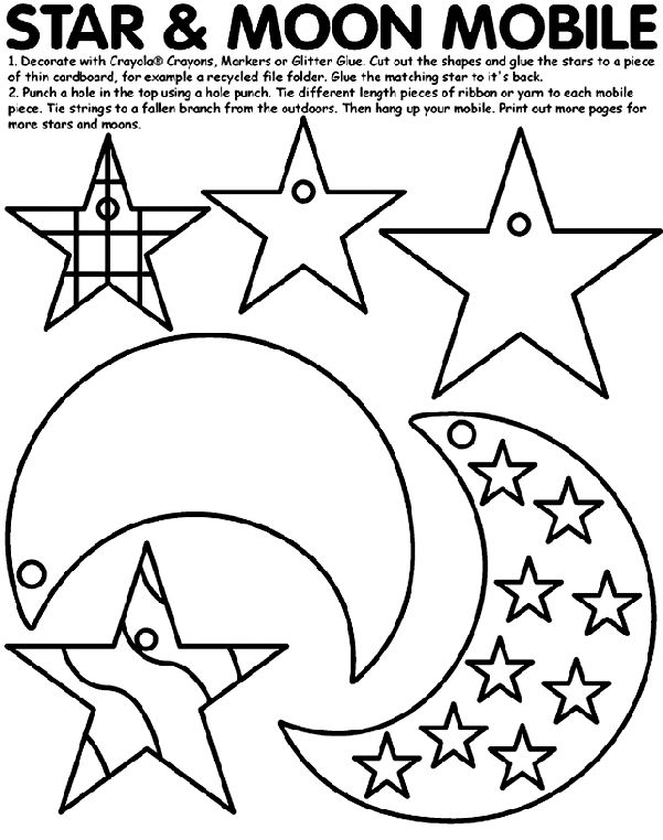 Moppets Lesson for November 7, 2011: Everyone is Important.  Craft: Take Home Star and Moon Mobile - Star and Moon Mobile coloring page