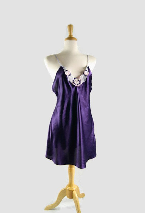 Vintage Val Mode Lingerie  Purple Nightgown by ANTIGOs on Etsy, $23.91