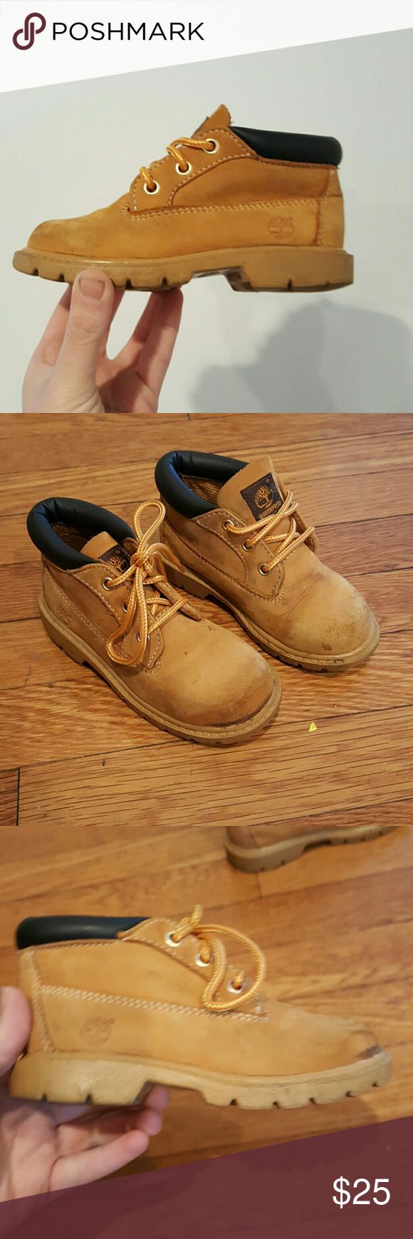 TIMBERLAND  BOYS HIKING BOOTS SIZE 9 TIMBERLAND TODDLER SIZE 9 GREAT SHAPE SMALL STAIN IN FRONT NOT NOTICEABLE NOT ALOT OF WEAR ADORABLE CLASSIC HIKING BOOTS WATERPROOF WHEAT NUBUCK PREMIUM BOOT Timberland Shoes Rain & Snow Boots