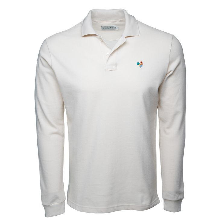 Natural Long Sleeve Polo Shirt with Multi-Color Rooster