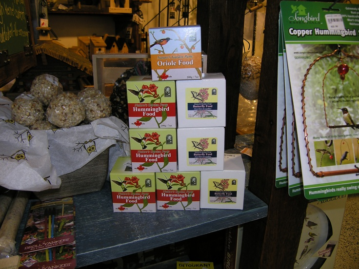 A different kind of bird food! Specially formulated Hummingbird and Oriole Nectars.  And one for Butterflies too!