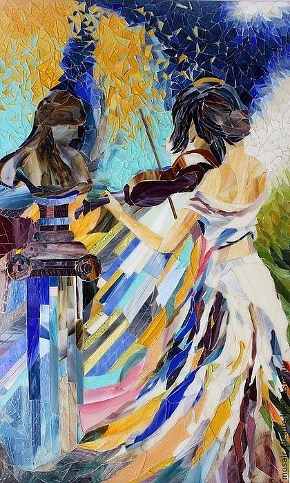 Картина из мозаика. Техника художественной колки. Ручная работа. Витражное стекло.