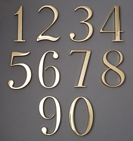 Traditional House Numbers Lacquered Brass C2775