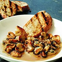 Mussels with White Mushrooms and Hazelnuts by Alex Guarnaschelli