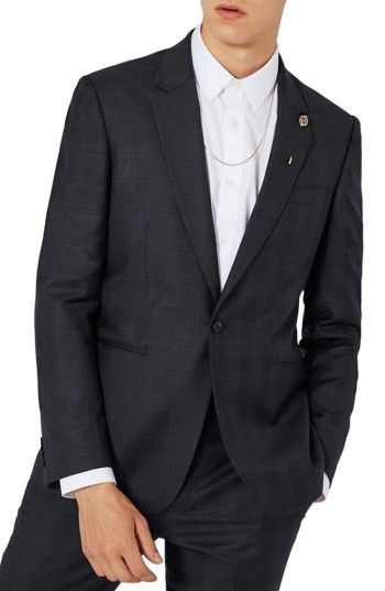 TOPMAN MEN'S CHARLIE CASELY-HAYFORD X TOPMAN SKINNY FIT CHECK SUIT JACKET. #topman #cloth #