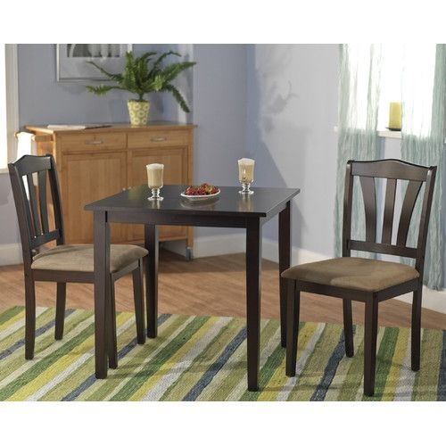 3 Piece Square Dining Set In Espresso Wood Finish