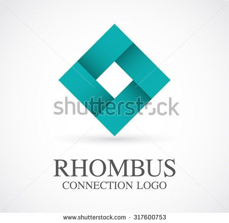 Rhombus connection ribbon square abstract vector logo design template business relation support icon company identity symbol concept