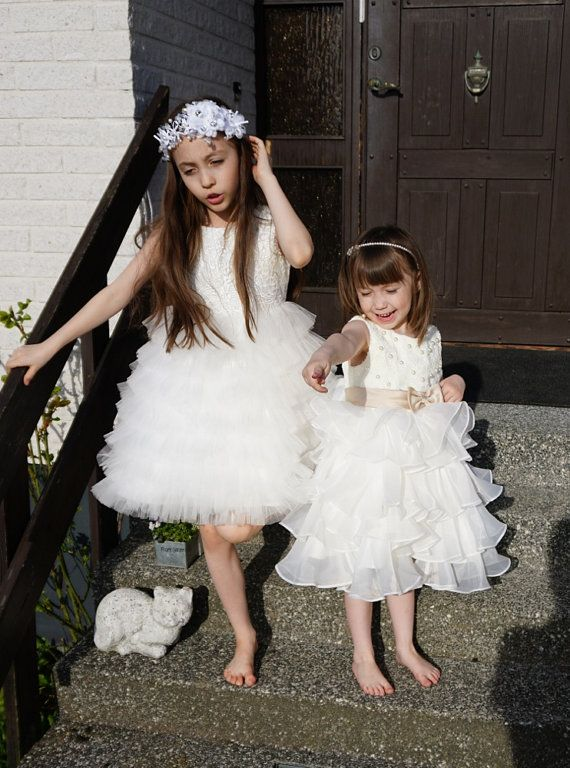 Lace Flower Girl Dress with Sequin Bow/ Pageant by BridalDebut