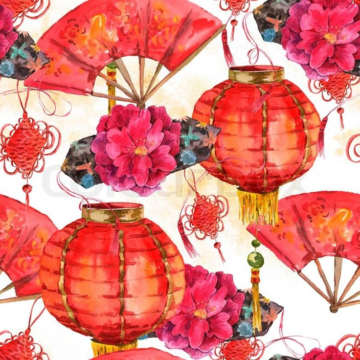 Stock image of 'Seamless Watercolor Background with Oriental Chinese New Year Element, Lights, Fan, Mandarin, Lotus, watercolor illustration.'