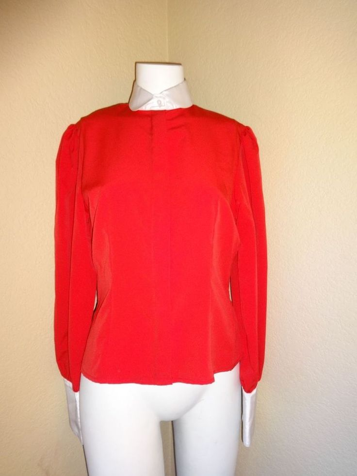Vintage Women's Red Shirt with White Collar #SelfIndulgence #ButtonDownShirt