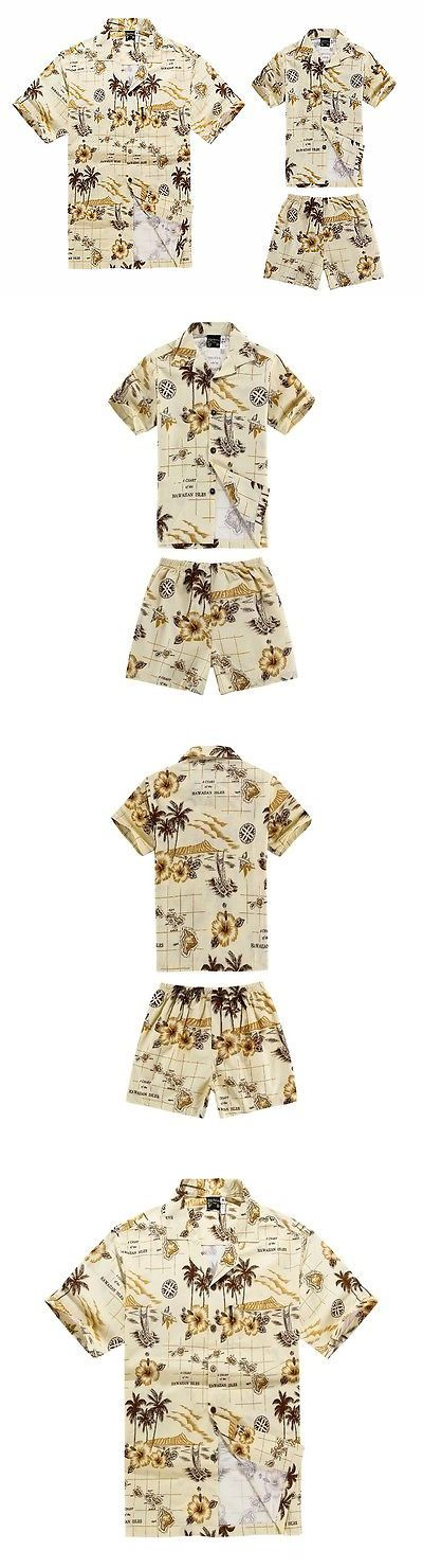 Other Cultural Clothing 155254: Matching Father Son Hawaiian Luau Outfit Men Shirt Boy Shirt Shorts Cream Map -> BUY IT NOW ONLY: $34 on eBay!