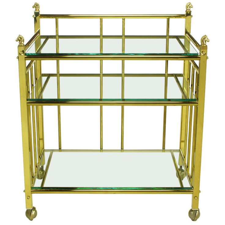 Three Tiered Brass & Glass Bar Cart With Horse Head Details,1stdibs