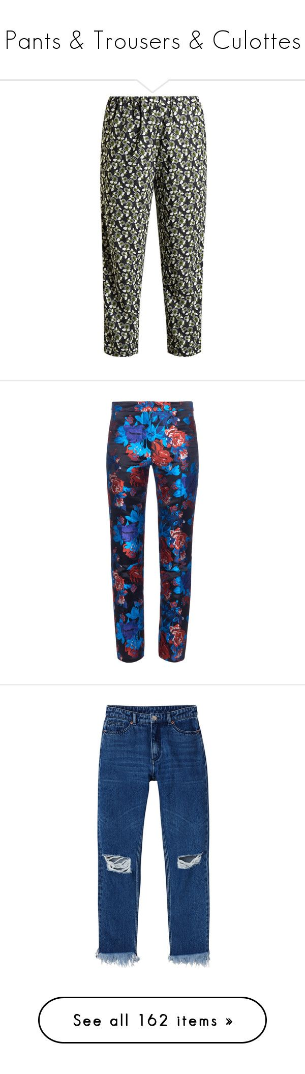 """""""Pants & Trousers & Culottes"""" by taught-to-fly19 on Polyvore featuring pants, capris, green print, floral printed pants, print pants, loose fitting pants, elastic waistband pants, floral-print pants, bottoms e trousers"""