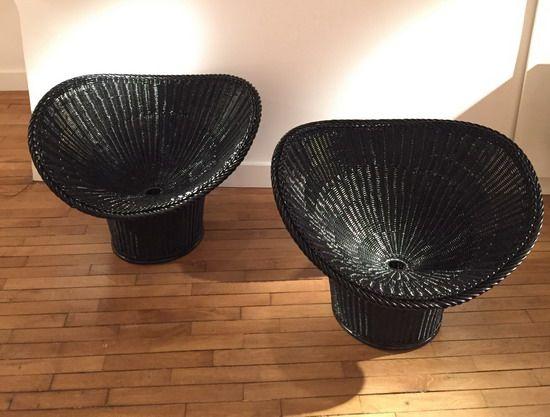 Paire de fauteuils en rotin peint en noir Egon Eiermann, Modèle E20 Allemagne, 1950's L: 85 cm, P: 65 cm Prix sur demande