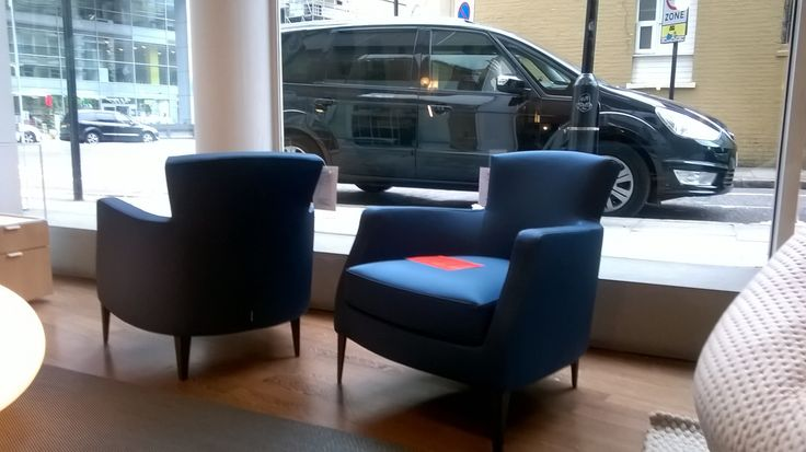 2 x VINTA armchairs in Charm Petrole. Was £1280 each, Now £960 each. Ex-display.