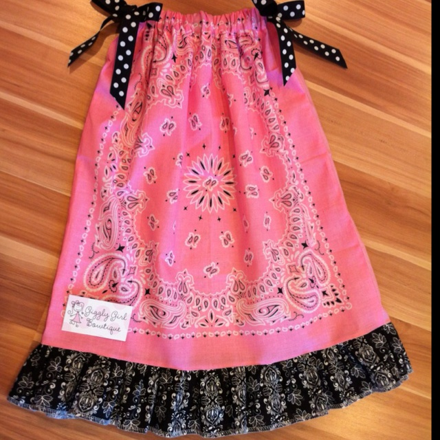 """A pink bandana dress with 4"""" ruffle! Too cute! From Giggly Girl Bowtique on FB!"""