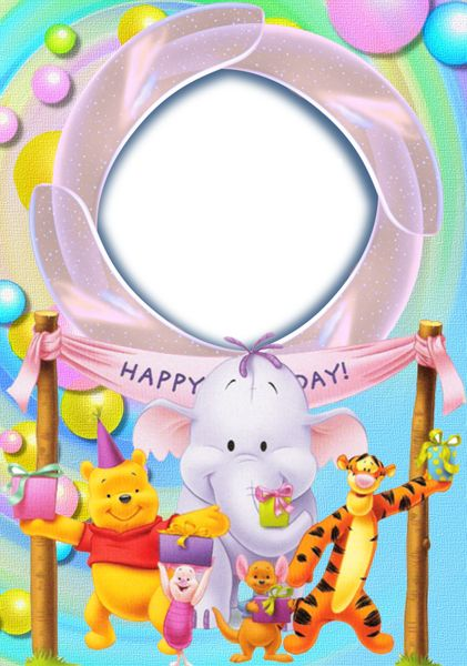 Happy Birthday with Winnie The Pooh Transparent Photo Frame