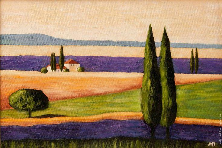 Купить Картина маслом. Лавандовое поле - фиолетовый, лаванда, лавандовое поле…