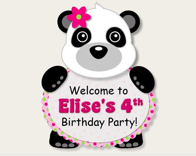 Pink Girl Panda Birthday Party DOOR SIGN or Panda Baby Shower Decorations - Party Favors, Invitation, Banner, Party Hat, cupcake