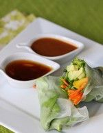 spring rolls with 3 different sauces from Our Best Bites