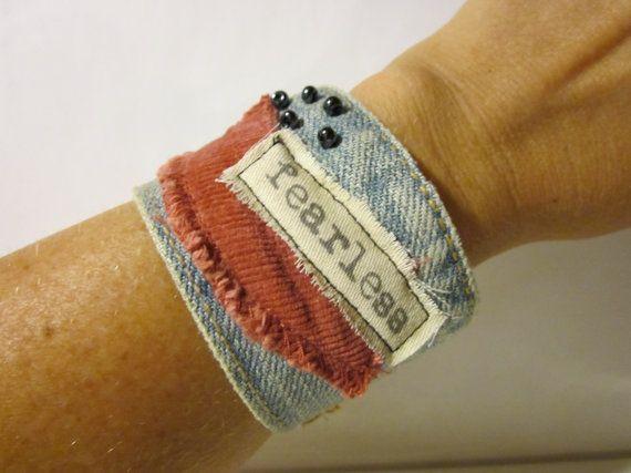 Fearless Wide Denim Cuff Bracelet - Bohemian Blue Jean Jewelry. $39.00, via Etsy.