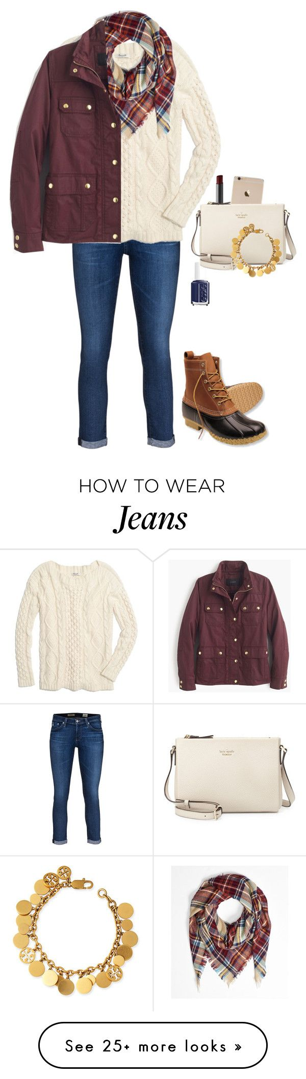 """keep me Inside the pocket Of your ripped jeans"" by lariho on Polyvore featuring AG Adriano Goldschmied, Madewell, J.Crew, L.L.Bean, NARS Cosmetics, Essie, Kate Spade and Tory Burch"