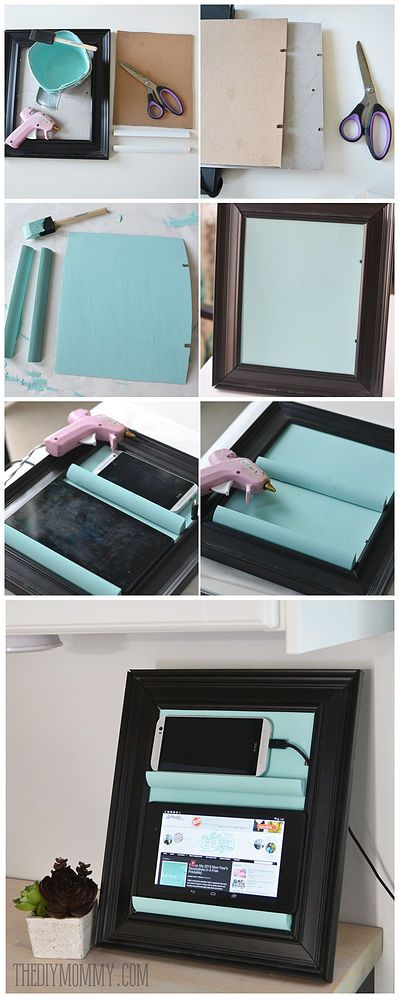 A Counter Top Charging Station & Tablet Holder From a Picture Frame