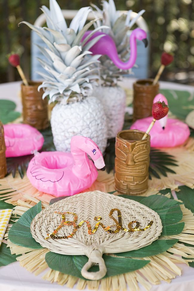 Adorable DIY Flamingo Poolside Bachelorette Party