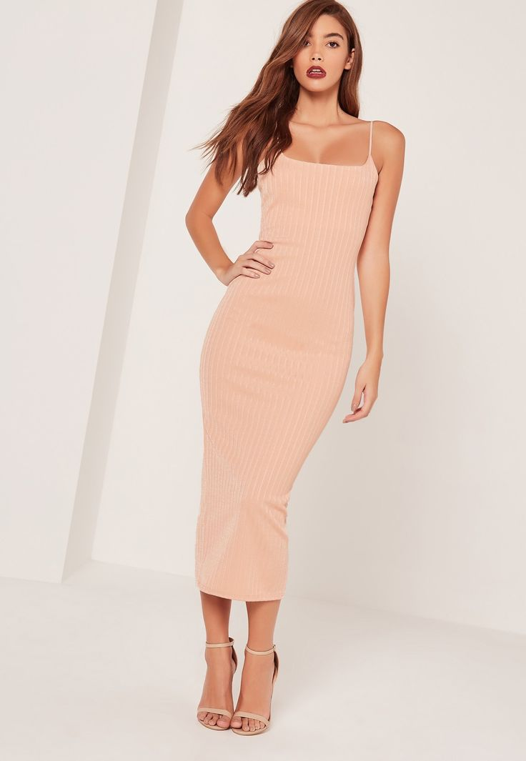 Missguided - Sarah Ashcroft Ribbed Strappy Midi Dress Nude