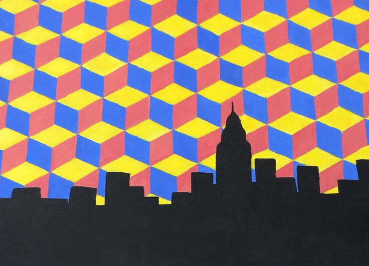3D cubes and NYC skyline done in acrylic on canvas  #nyc #acrylic #prints #cubes #canvas