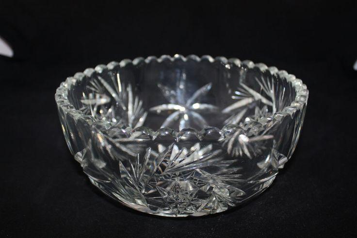 American Brilliant Antique Hand Cut Lead Crystal Glass Bowl Pinwheel Star 8 Quot X4 Quot Cut Glass