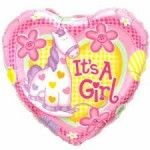 It's a Girl Heart Shaped Foil Balloon  Balloons for all your parties and occasions  http://www.bsamboutique.com.au/?product_cat=balloons