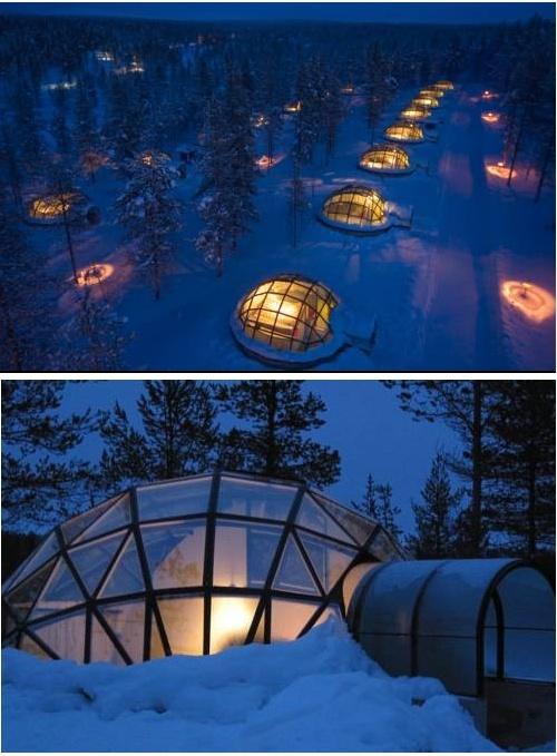 Una escapada a la Laponia finlandesa? Podrás dormir en inglús de cristal y estar en la sauna más grande del mundo!    http://www.guias.travel/ver/?hotel/fi/igloo-village-kakslauttanen.es.html