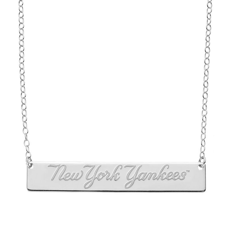 """New York Yankees Sterling Silver Bar Necklace, Women's, Size: 16"""", Grey"""