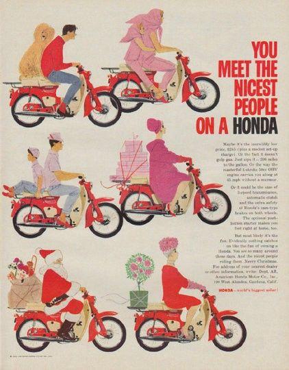 "1963 HONDA vintage magazine advertisement ""nicest people"" ~ You meet the nicest people on a Honda ... Honda -- world's biggest seller! ~"